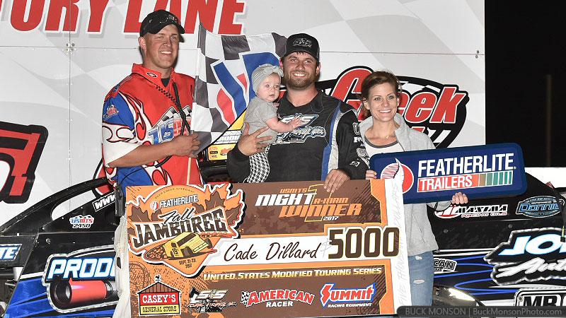 Dillard wins the battle, Hughes wins the war in Featherlite Fall Jamboree opener