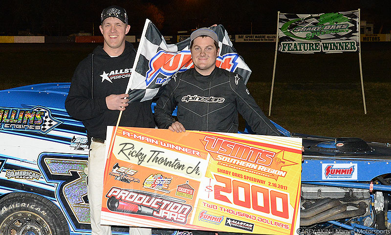 Thornton fourth winner in four races, snares USMTS opener at Shady Oaks Speedway