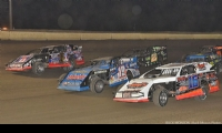 The front row starters for the 50-lap USMTS main event during the 19th Annual Featherlite Fall Jamboree at the Deer Creek Speedway in Spring Valley, Minn., on Saturday, Sept. 23, 2017, were Chris Henigan (16), Ryan Gustin (19r) and Joe Duvall (91).