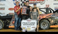 Tyler won the USRA Modified feature at the Lucas Oil Speedway in Wheatland, Mo., on Saturday, July 8, 2017.