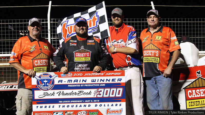 Last-second heroics propel VanderBeek into USMTS winners circle at Tri-State Speedway